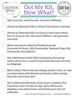 """""""Got my kit, now what?"""" The next 7 steps after receiving your Young Living essential oils premium starter kit. To best learn how to use your oils, get them for the best price,share them with others, and even earn money from home. www.lavenderngrace.com"""