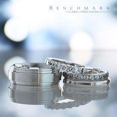 Stunning Wedding bands by Benchmark Benchmark Style #: (L to R) CF68100W, 5535015W, 513549W, LCF130DW.