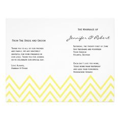 Modern Yellow Chevron Wedding Program Flyers