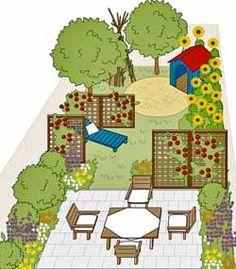 Gartengestaltung Mit unterschiedlich langen Rankgittern wird dieser Garten so unterteilt, dass er von der Terrasse aus nur teilweise einzusehen ist