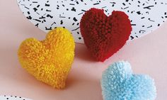 to make heart shape pompom - handmade woolen heart shape pompom- woolen thread craft idea How to make yarn/wool multicolor pompom step by step at home-pom pom making Handmade Crafts, Diy And Crafts, Crafts For Kids, Pom Pom Crafts, Yarn Crafts, Pom Pom Animals, Pom Pom Rug, Pom Poms, How To Make A Pom Pom