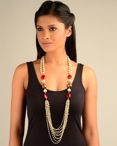 Possible...with a second long Multi-Strand Pearl Necklace.
