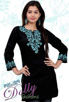 Black Cotton Embroidered Kurti/ Indian Tunic Top