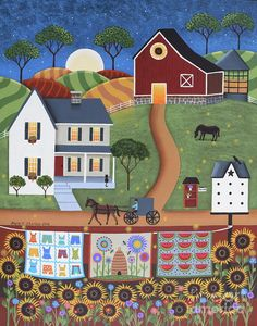 Seasons Of Rural Life - Summer Print by Mary Charles.  All prints are professionally printed, packaged, and shipped within 3 - 4 business days. Choose from multiple sizes and hundreds of frame and mat options.