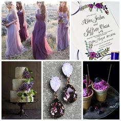Deep purple and plum shades contrasted with hints of green. What are your dream wedding colors? Tell us and we can create a custom design.