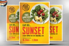 Cafe Sunset Poster Template by FlyerHeroes on @creativemarket
