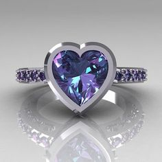 """""""Classic Bridal 14K White Gold 2.10 Carat Heart Alexandrite Ring R314-14WGAL"""" -- Not sure """"bridal"""" is what springs to mind for me when I see this, but it certainly IS lovely!"""