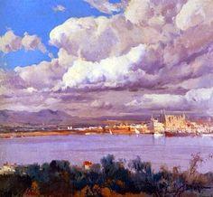Eliseo Meifrén Roig. Vista de Palma de Mallorca. Óleo sobre lienzo. Firmado. 100 x 110 cm. Ausa, 309. Sotheby's, London, noviembre de 2003.