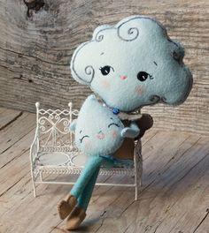 PDF. Cloud girl and rain drop brooch. Plush Doll by Noialand