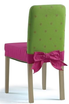 pink and green child's chair, like the slip cover, easily made.
