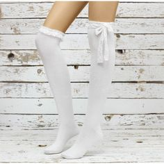 White & White Lace Top Sweet Gothic Lolita Thigh High Socks Knee High... (35 CAD) ❤ liked on Polyvore featuring intimates, hosiery, socks, accessories, bottoms, legs, legwear, over knee socks, thick knee high socks and lace thigh high socks