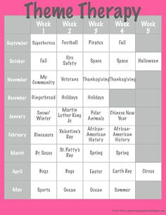Crazy Speech World: Theme Therapy, 2013 Style! {Freebie} easy place to plan and share our themes for the year or by month ;-)