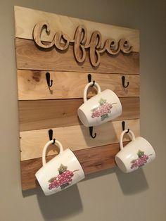 Decor, Coffee Signs, Wooden Cutouts, Farmhouse Decor, Coffee Cup Rack, Mug Rack, Mugs, Rack, Coffee Cups