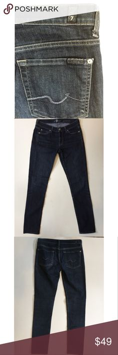 """7 For All Mankind Sz 27 Gwenevere Skinny Jeans Description:  The Gwenevere in Indigo is our original skinny fit presented on our lightweight, indigo Gummy Denim fabrication.  These are still available on their website at $169  Condition: Great condition, no flaws!   Approximate measurements (laying flat): Waist: 15 1/2"""" Rise: 6 3/8"""" Inseam: 30""""  Need it fast? Have questions? Just ask! 7 For All Mankind Jeans Skinny"""
