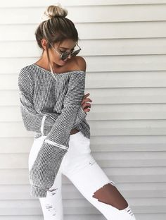 25 Ultra Trendy Summer Outfits From Australia - Trendy Outfits Trendy Summer Outfits, Fall Outfits, Casual Outfits, White Outfits, Casual Clothes, Fashion Casual, Fashion Outfits, Fashion Mode, Jeans Fashion