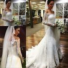 Sexy Mermaid White/Ivory Wedding Dress New Bridal Gown Custom Made Plus Size2-28