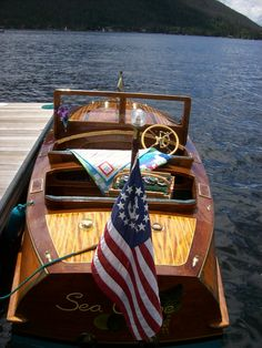 Antique boat at Grand Lake's Annual Antique Boat Show in front of the Western Riviera . . . www.stayingrandlake.com