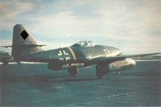 Jet fighter Messerschmitt Me-262A-1a from the third group of the 2nd combat training squadron of the Luftwaffe (III / EJG 2).