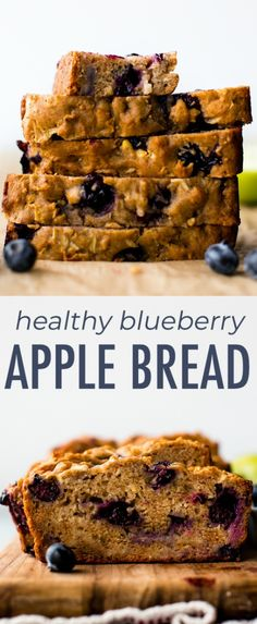Greek yogurt apple blueberry bread with zero refined sugar! Made with honey, apples, blueberries, and Greek yogurt, this quick bread is a simple healthy snack or breakfast. Recipe on sallysbakingaddiction.com