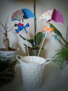 Umbrella paper craft, kids, rain drops