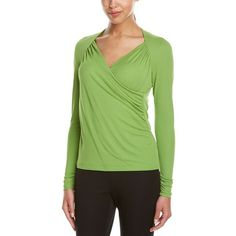 Lafayette 148 New York Lafayette 148 New York Silk Top ($85) ❤ liked on Polyvore featuring tops, green, sweaters, ruched tops, silk top, green top, faux wrap top and shirred top