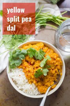 flavorful and warming Afghan-inspired split pea dal is made with creamy yellow split peas simmered in ginger and toasty spices. A delicious and mildly spicy curry that's vegan, vegetarian, gluten-free, and easy enough for a weeknight dinner! Easy Vegan Dinner, Vegan Dinner Recipes, Delicious Vegan Recipes, Vegan Dinners, Indian Food Recipes, Vegetarian Recipes, Vegan Vegetarian, Healthy Recipes, Vegan Soups