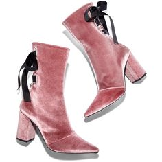 Robert Clergerie Dusty Pink Velvet Ankle Bootie (7.095.370 IDR) ❤ liked on Polyvore featuring shoes, boots, ankle booties, ankle boots, short boots, bootie boots, ankle bootie boots and tie booties