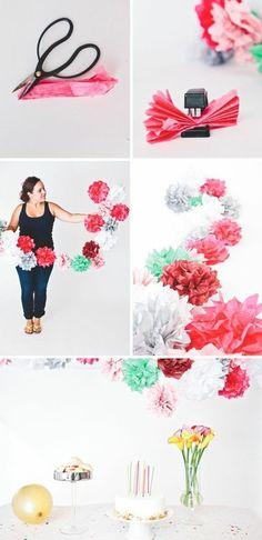 tutoriel pour fabriquer une guirlande de fleurs, fleur en papier de soie très facile à réaliser