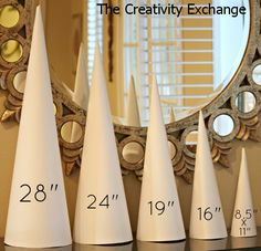 Never buy another craft cone again! Cyndy created a template for 5 sizes of craft cones that are used to make sturdy cones out of rolled poster board (which are just as durable as the paper mache because they are rolled twice. The Creativity Exchange Noel Christmas, Christmas Projects, All Things Christmas, Holiday Crafts, Holiday Fun, Spring Crafts, Cone Christmas Trees, Diy Paper Christmas Tree, Christmas Topiary