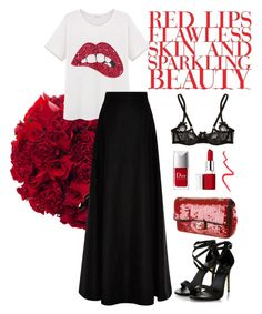 """""""Red lips"""" by kathleenmountain on Polyvore featuring Agent Provocateur, Rosie Assoulin, Chanel, Clinique and Topshop"""