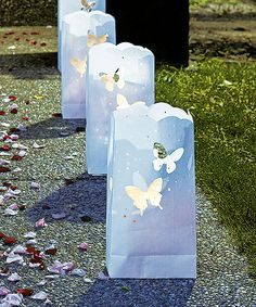 """""""Light The Way"""" White Luminary Bags with Die-Cut Butterfly Pattern: $6.95  #Wedding"""