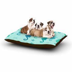 "afe images ""Seahorse Pattern"" Teal Blue Illustration Dog Bed from KESS InHouse"