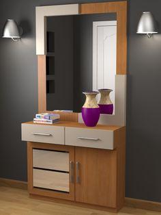 Recibidor a medida moderno, acabado mixto, lacado, colores a elegir y chapa de madera natural en este caso gris ceniza onlinemuebles.com