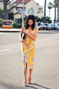 A brightly printed dress with sunshine colors inspired by the coast. via @Amy Higgins Neill