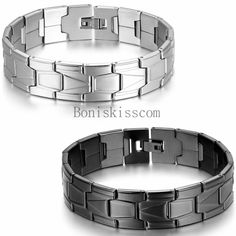 "16mm Wide Classic Greek Key Link Wristband Men's Stainless Steel Bracelet 8.3"" #Unbranded #Chain"