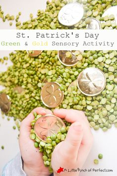 St. Patrick's Day Green and Gold Sensory Activity- Easy to set up, great for toddlers and preschoolers!