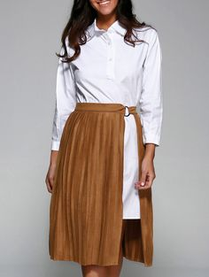 Casual Dresses | Khaki Shirt Dress With Pleated Skirt - Gamiss