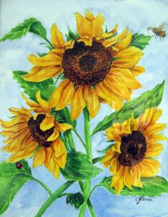 watercolor paintings sunflower | Watercolor Paintings Of Sunflowers Watercolor - gloria hosek. Watercolor Sunflower, Sunflower Art, Easy Watercolor, Watercolor Flowers, Watercolor Paintings, Paint Flowers, Flower Paintings, Watercolors, Picture Puzzles
