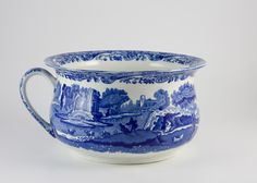 ~ Blue Willow Patterned Chamber Pot ~  {seems like such a shame - it's so beautiful}
