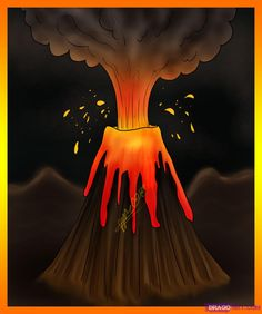 Cartoon Volcano | how to draw a volcano