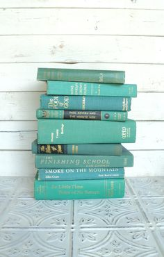 Instant Library Collection Turquoise Books | Teal Decor