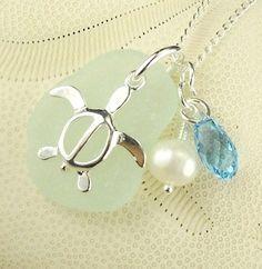 Genuine Sea Glass Jewelry Seaglass Turtle Necklace With Pearl And Swarovski Aquamarine Crystal | Surfside Sea Glass Jewelry