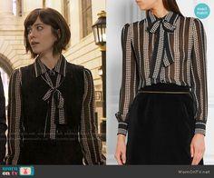 Laurel's black star print blouse on BrainDead.  Outfit Details: https://wornontv.net/59627/ #BrainDead