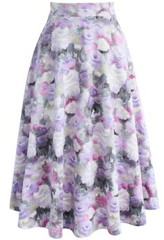 Flowers Palette Suede A-line Midi Skirt   - New Arrivals - Retro, Indie and Unique Fashion