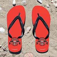Cycling Life Behind Bars on Orange Flip Flops - Kick back after a cycling with these great flip flops! Fun and functional flip flops for all cyclists.