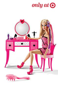 The Barbie Hairtastic Vanity and Doll Set allows her to create fabulous fashions, give makeovers and style Barbie's hair with colorful extensions, hair clips or headbands. You can even spritz perfume and a dab of powder. It's the perfect gift your a budding stylist.