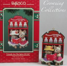 Enesco Friends are the Spice of Life Ornament Mice Treasury Christmas Mouse Best
