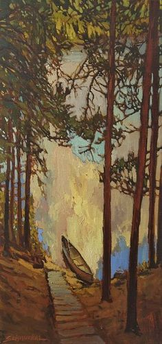 """Down To The Waterline"" - Jan Schmuckal - Lake Arrowhead - Arts & Crafts - Craftsman - Bungalow - Art"