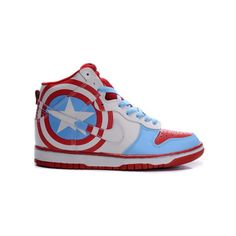 Superhero Shoes-Nike Dunk Captain America High Tops ($80) found on Polyvore