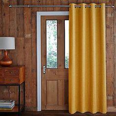 Jennings Ochre Door Curtain   Dunelm Curtains Dunelm, Door Curtains, Back Doors, Decor Styles, New Homes, Living Room, Modern, Design, House Ideas